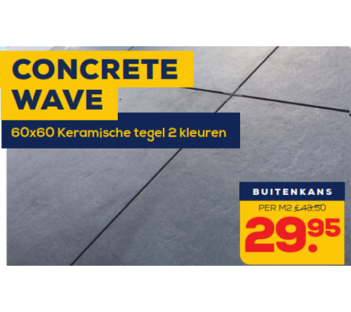 Keramische Tegel 60x60x2 Concrete Light Wave