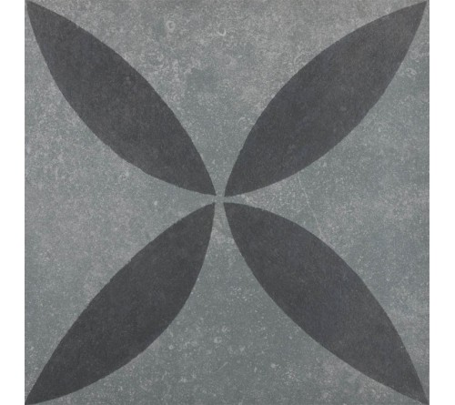 vtwonen Duostone Flower Black on Grey 60x60 buitentegels